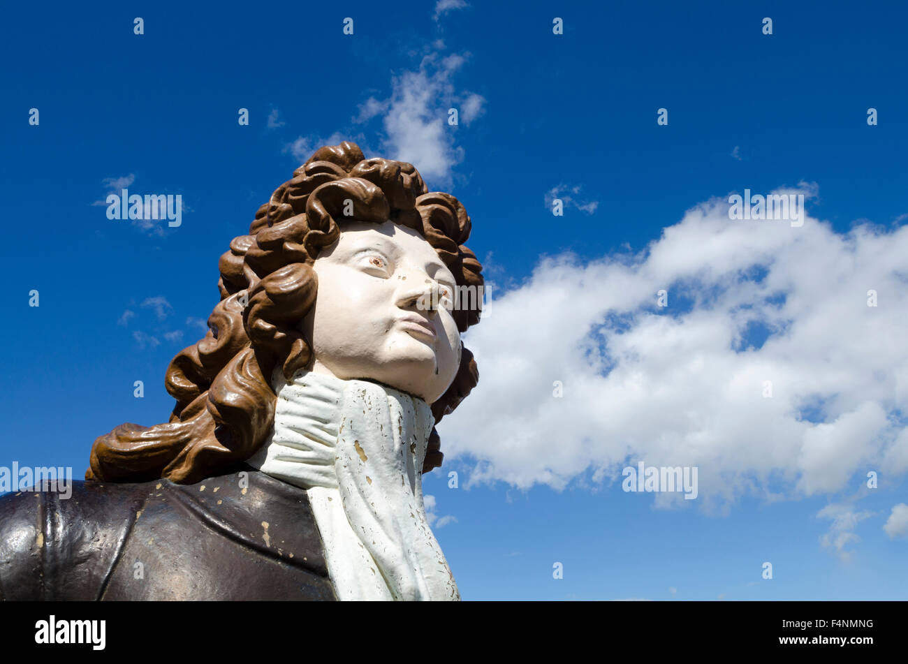 The figurehead from HMS Benbow at Portsmouth Historic Dockyard, Hampshire, England. - Stock Image