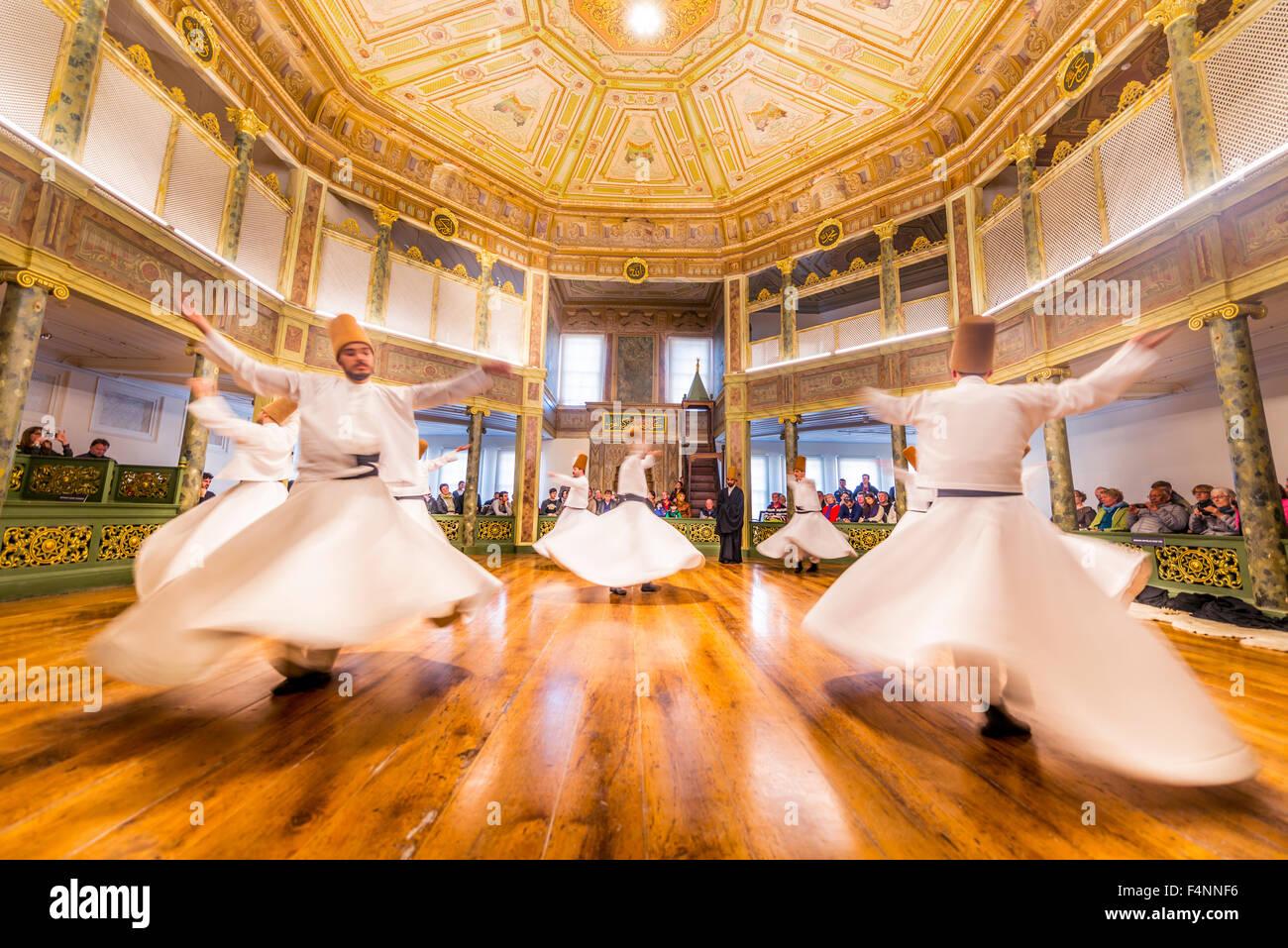 Dancing dervishes from the Sufi Mevlevi Order, Sema-Zerimonie, dervish dance, Sema, Mevlevihanesi Müzesi, Istanbul, - Stock Image