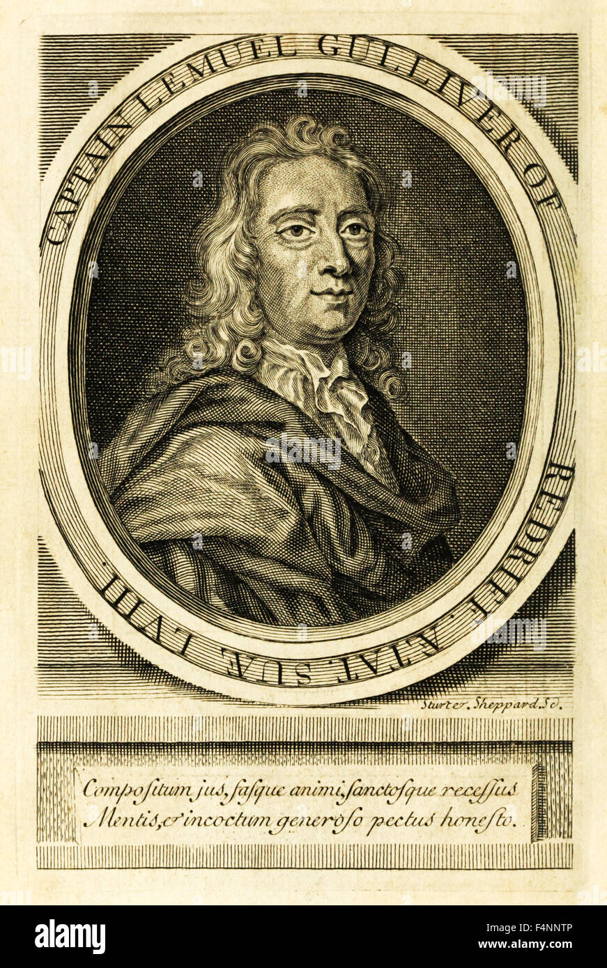 Frontispiece portrait of Captain Lemuel Gulliver from 'Travels into Several Remote Nations of the World' - Stock Image
