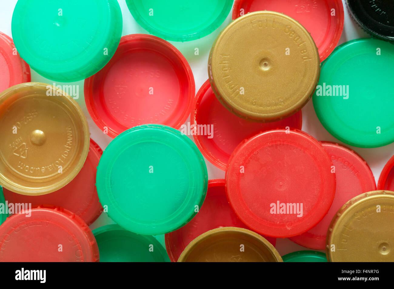 plastic bottle tops - Stock Image