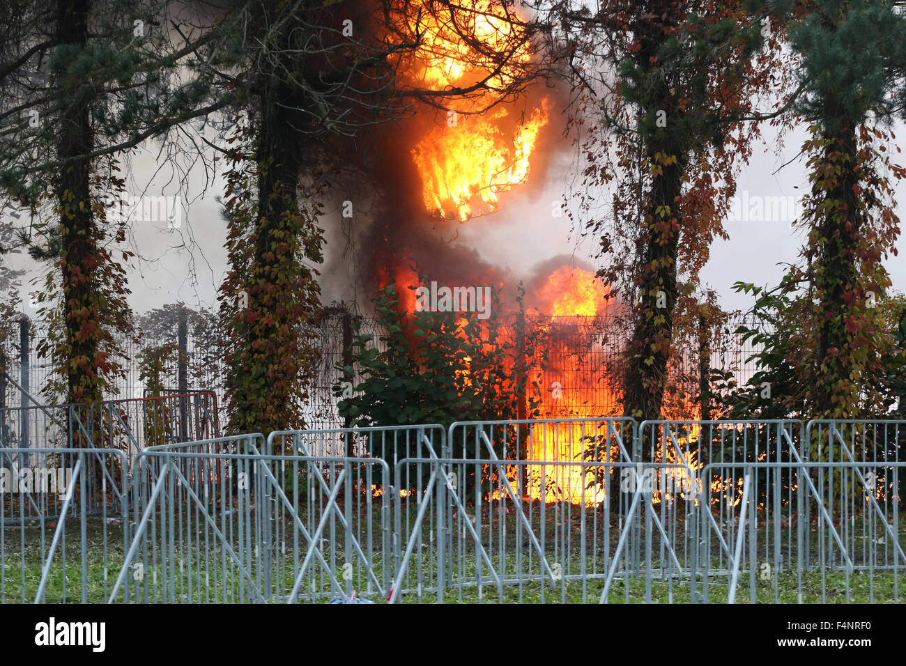 Brezice, Slovenia. 21st Oct, 2015. Slovenia is coping with the large influx of refugees from Siria, Afganistan, - Stock Image