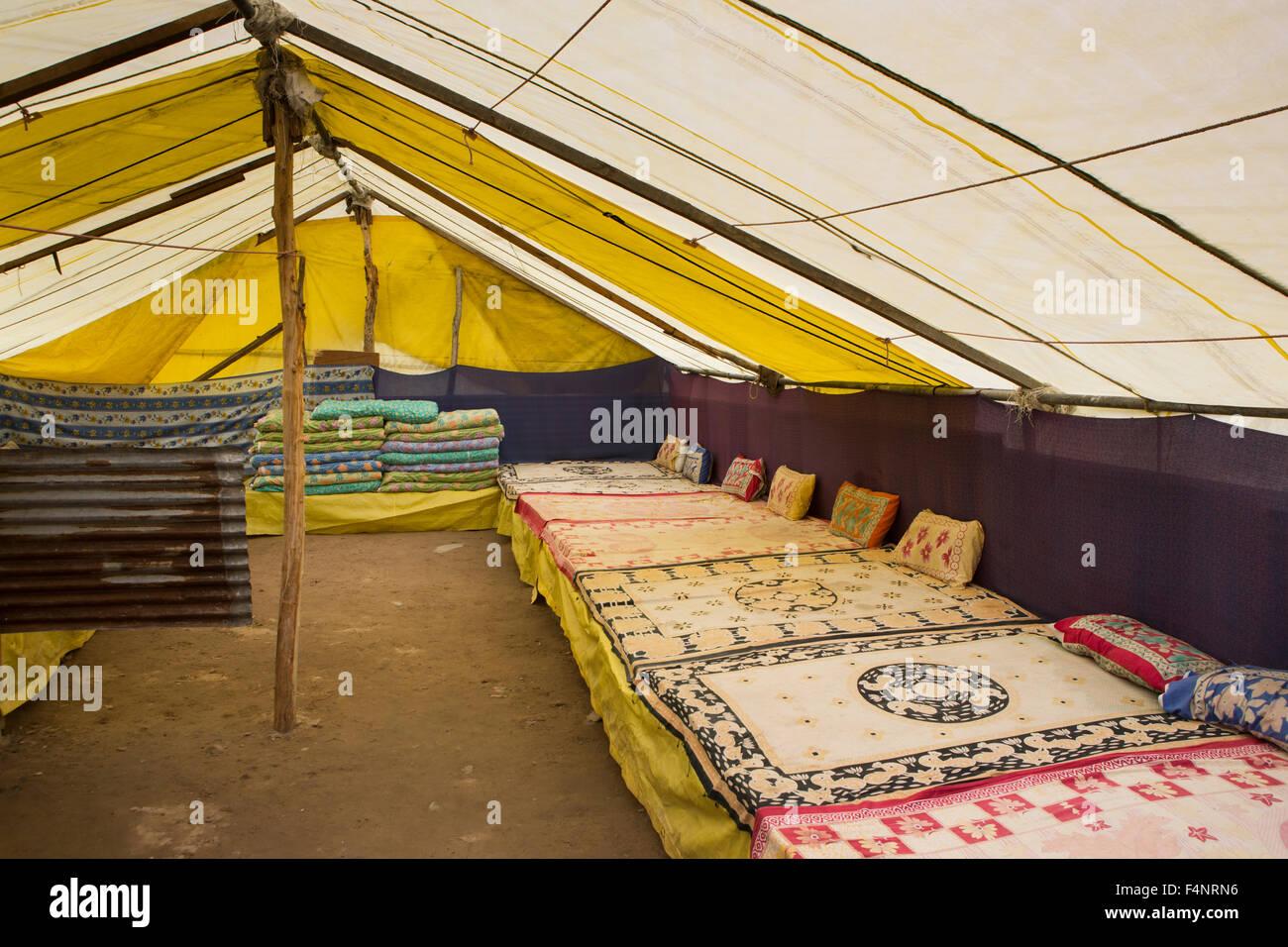 India, Himachal Pradesh, Lahaul and Spiti, Patsio, tent accommodation interior, matresses - Stock Image