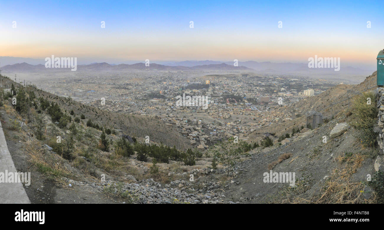 Scenic panorama of sunset in Kabul, Afghanistan - Stock Image