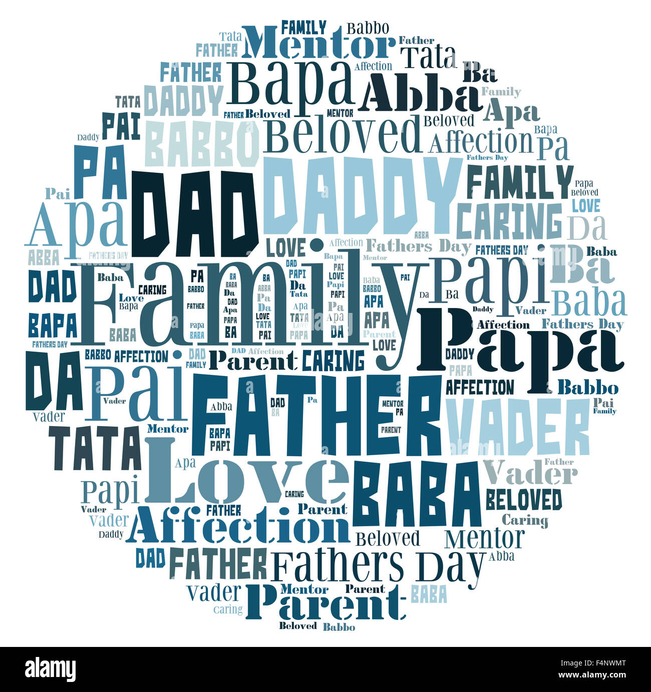 Word Cloud For Fathers Day That Includes The Word Father In Different Languages In Letters In A Shape That Represents The World