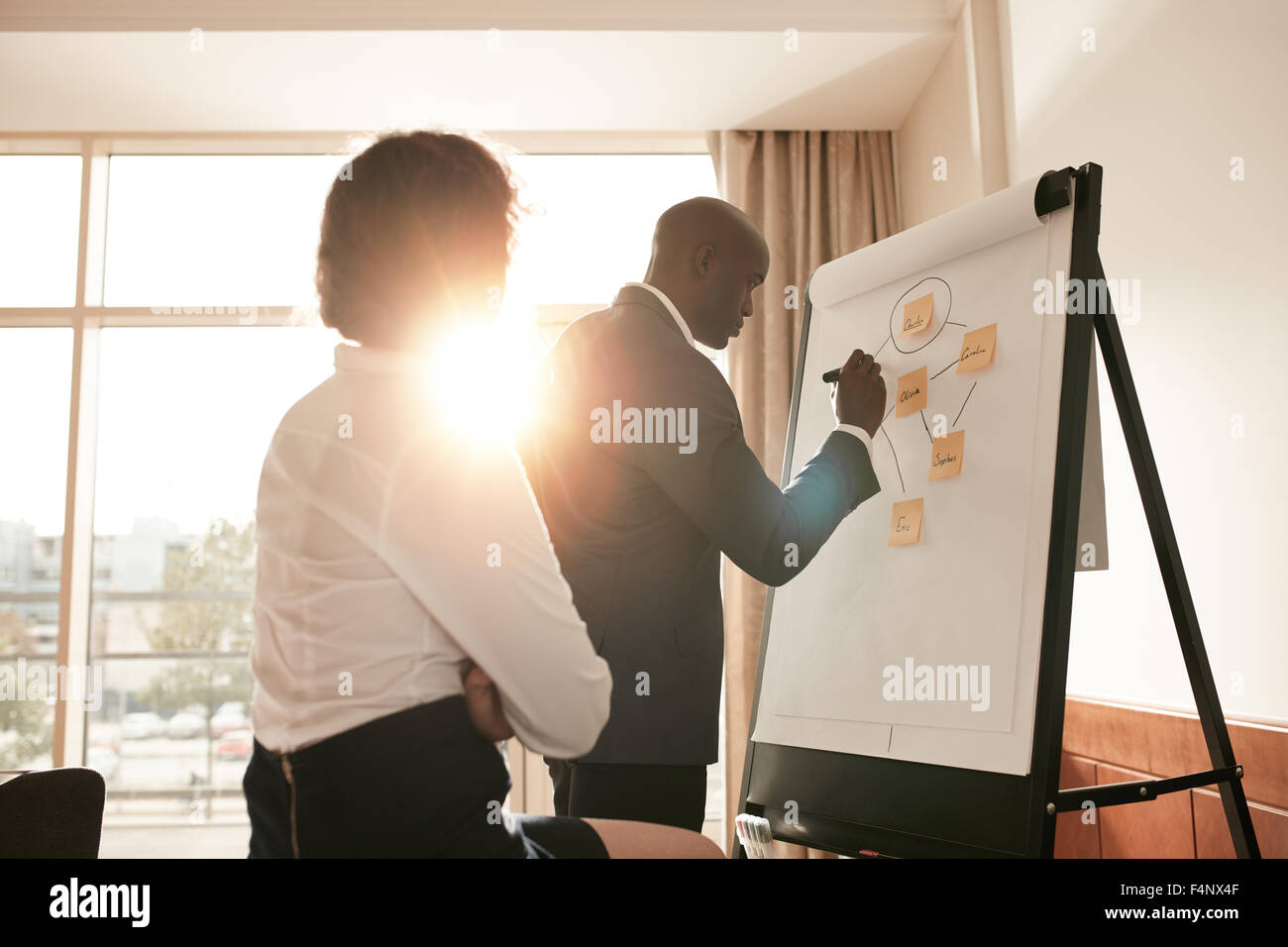 Corporate people discussing new business prospectus on flipchart. Businesspeople in conference room of a hotel working - Stock Image