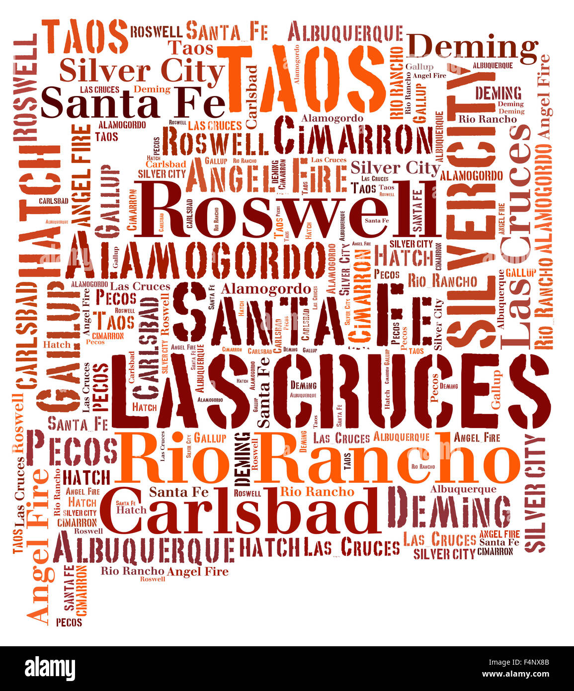 Word Cloud in the shape of New Mexico showing some of the cities in the state - Stock Image