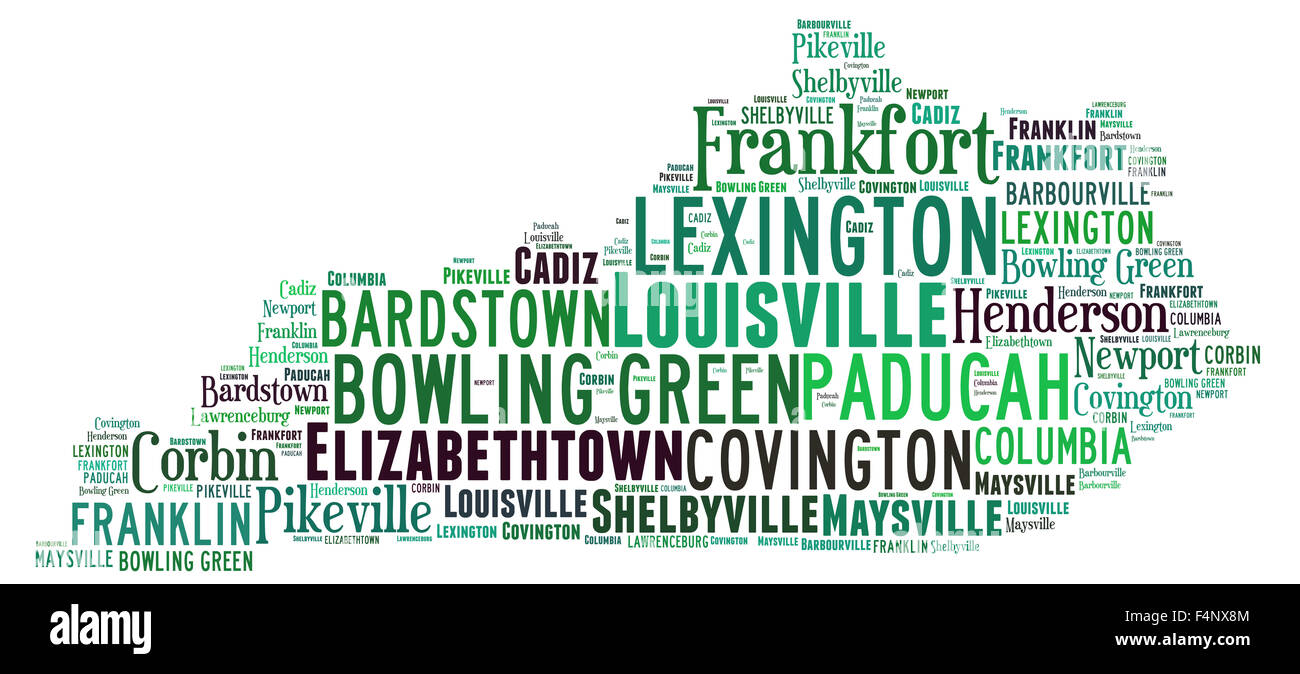 Word Cloud in the shape of Kentucky showing some of the cities in the state - Stock Image