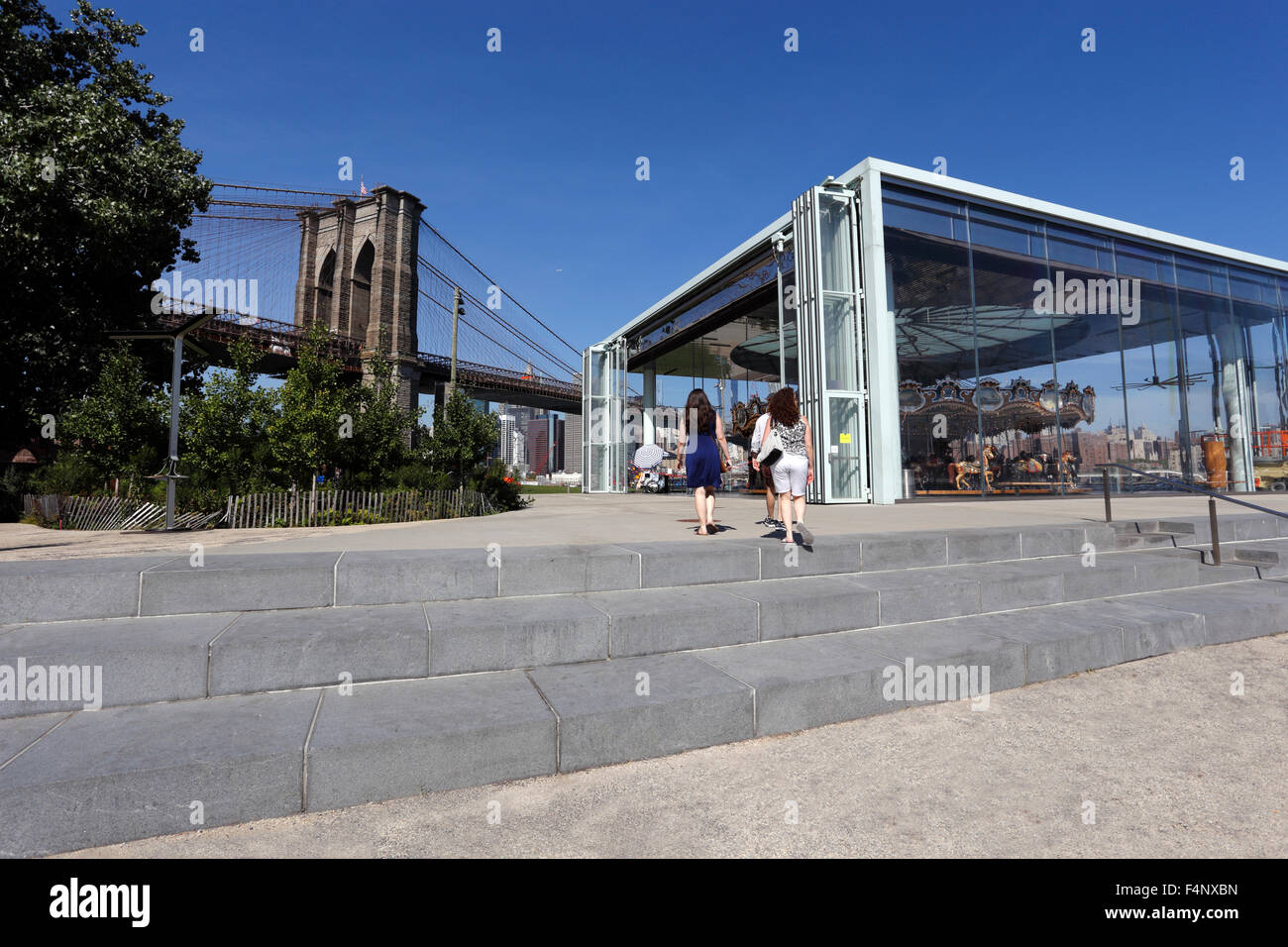 Jane's Carousel at the Brooklyn Bridge Brooklyn New York City - Stock Image
