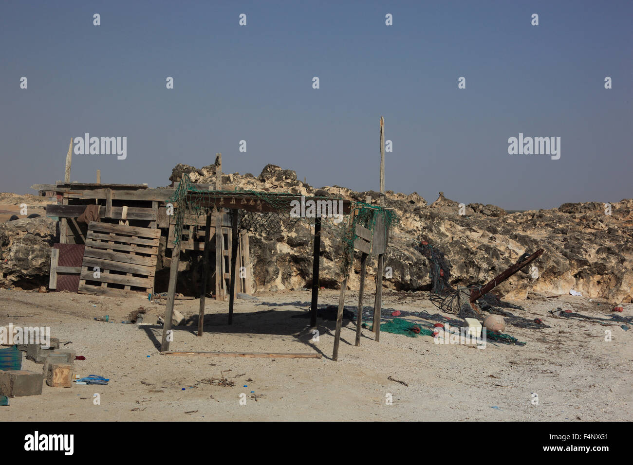 Poor fishing settlements on the east coast of Oman near - Stock Image