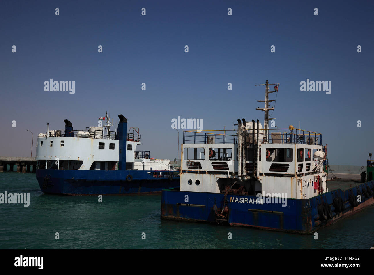 Ferryboats with Al-Ayjah with Sur, Oman - Stock Image
