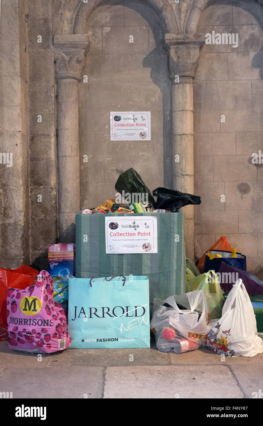 Foodbank Collection Point Within Norwich Cathedral Stock