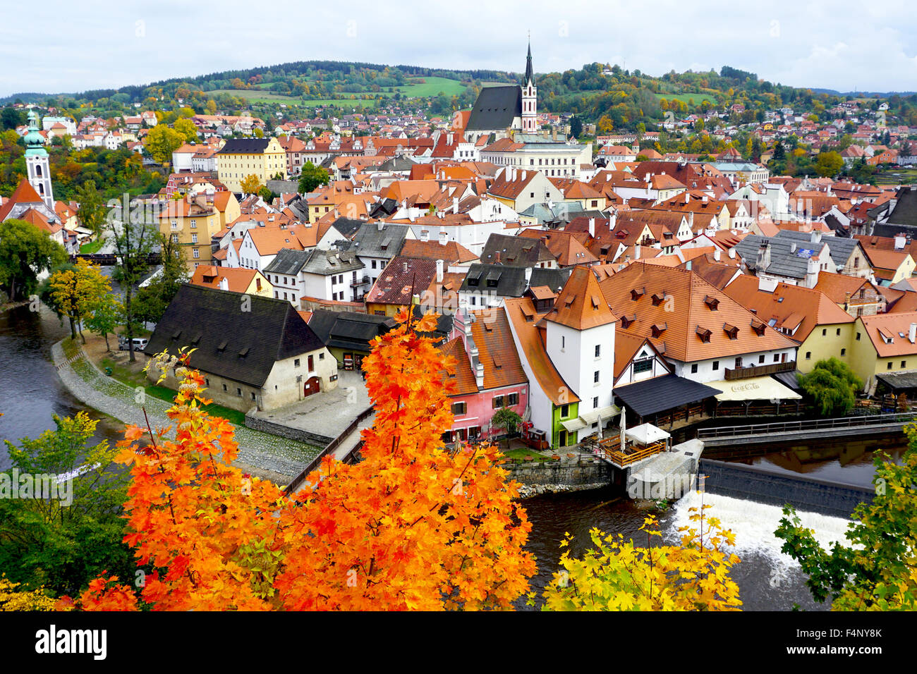 Viewpoints of Cesky Krumlov oldtown city and river in Autumn - Stock Image