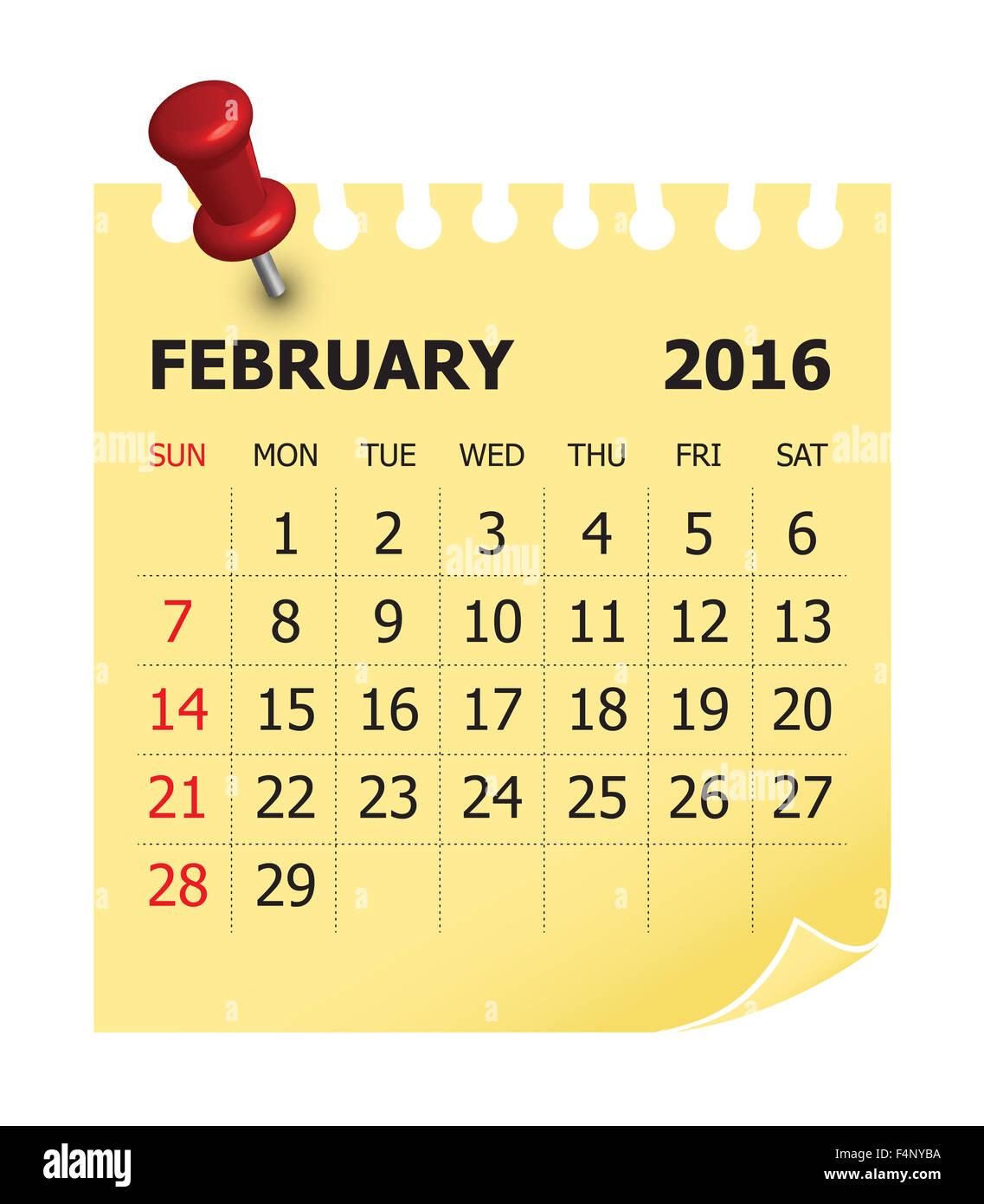 Simple calendar for February 2016 - Stock Image