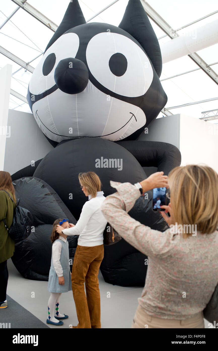 Frieze Art Fair  London. 2015. Mark Leckey's gigantic Felix the Cat at the Galerie Buchholz, - Stock Image