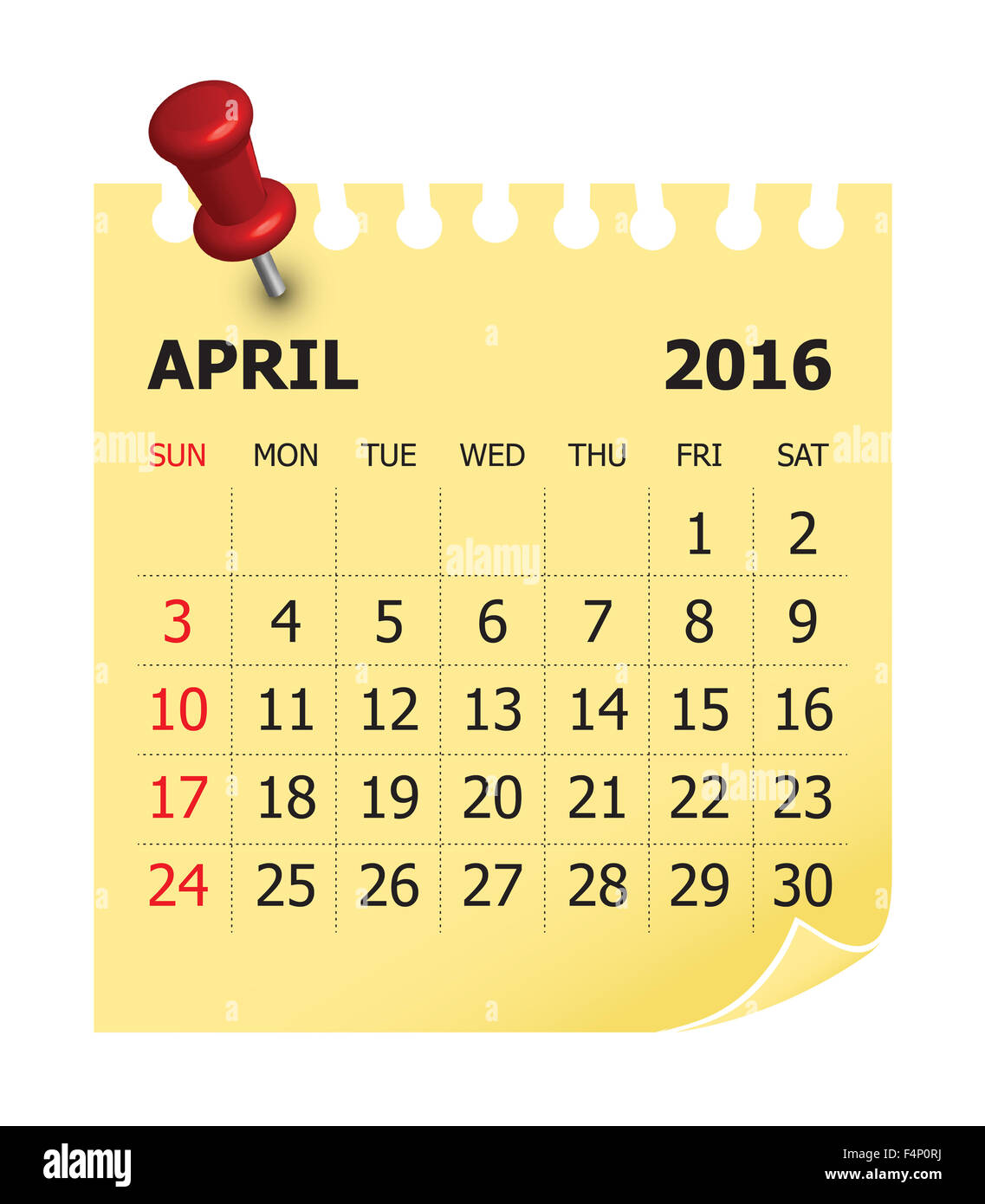 Simple calendar for April 2016 - Stock Image