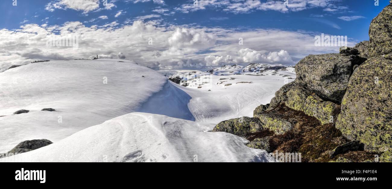 Scenic panorama of snowy landscape near Trolltunga in Norway Stock Photo
