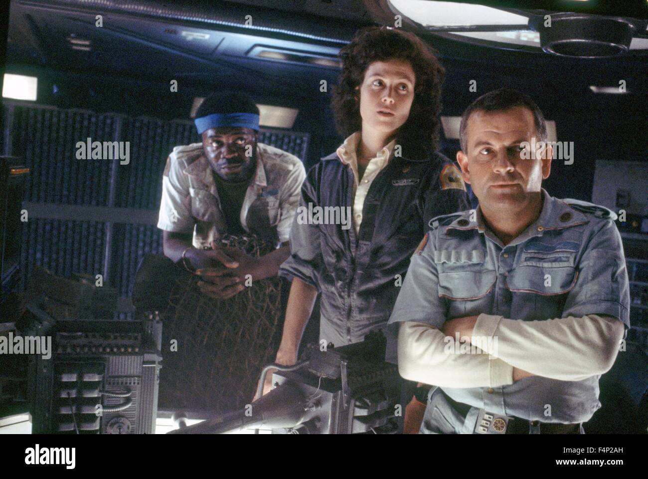 Yaphet Kotto, Sigourney Weaver and Ian Holm / Alien 1979 directed by Ridley Scott - Stock Image