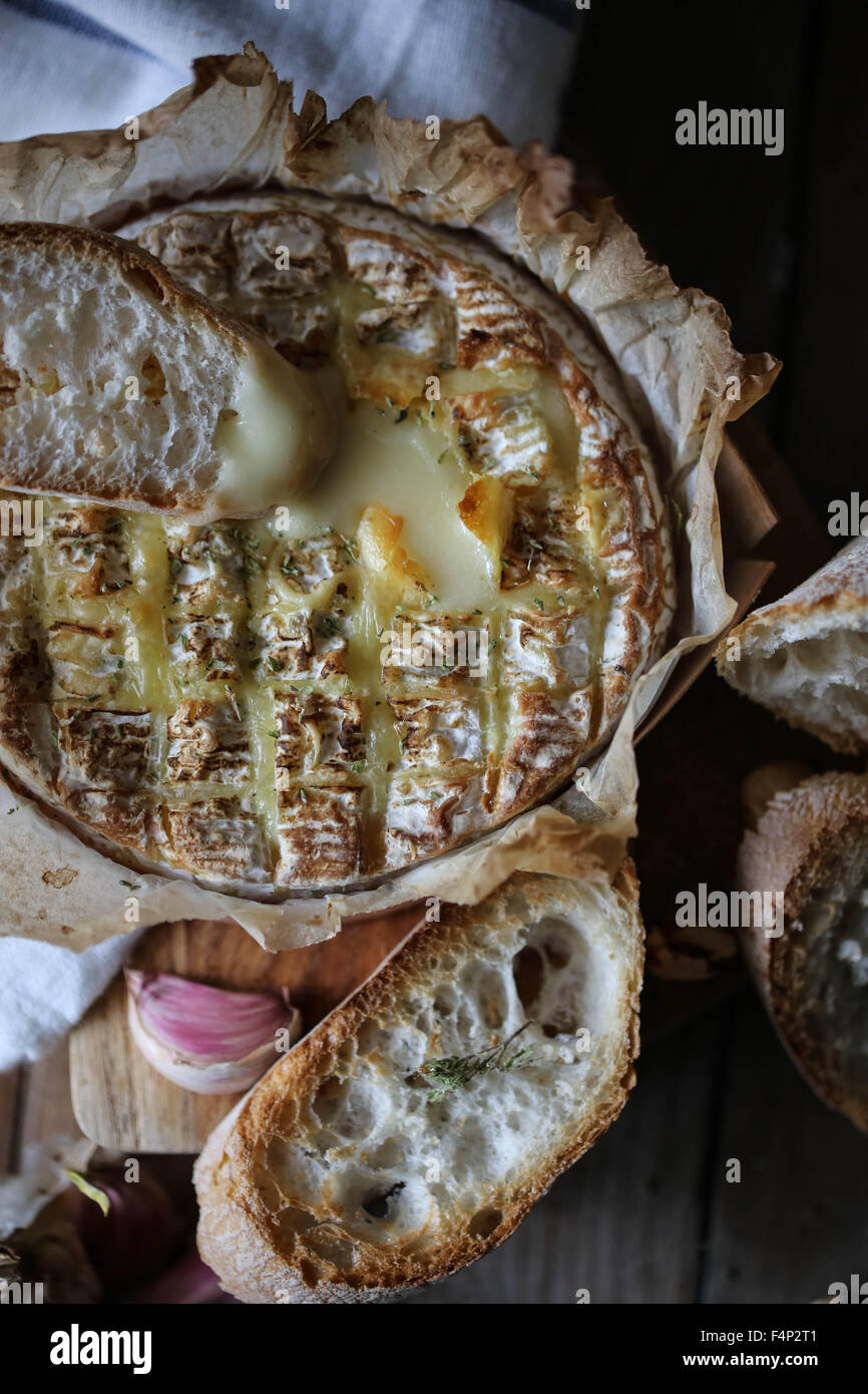 Baked Coulommiers cheese. Stock Photo