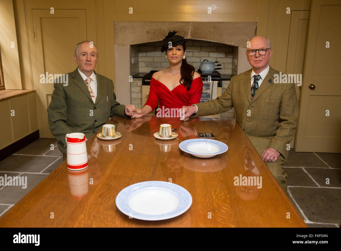 Gilbert Proesch, 72, and George Passmore, 73, with Victoria in their studio ahead of 'Transformation' at - Stock Image