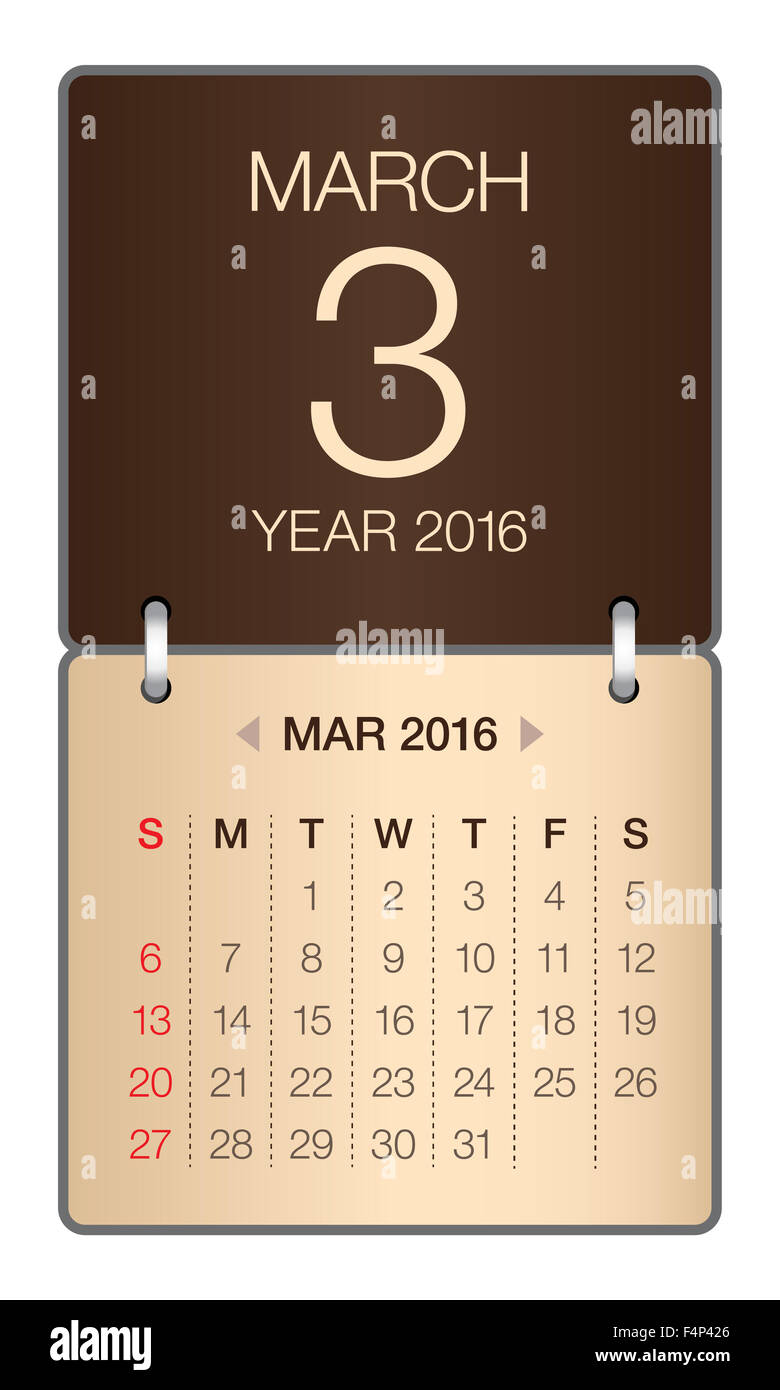 Simple calendar for March 2016 - Stock Image