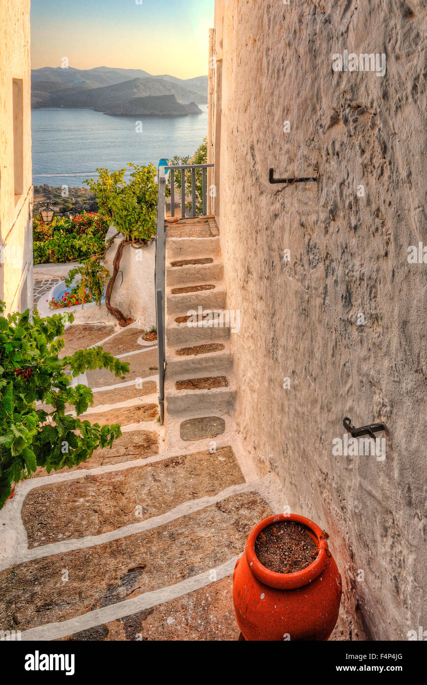 A house in the traditional village of Plaka in Milos, Greece Stock Photo
