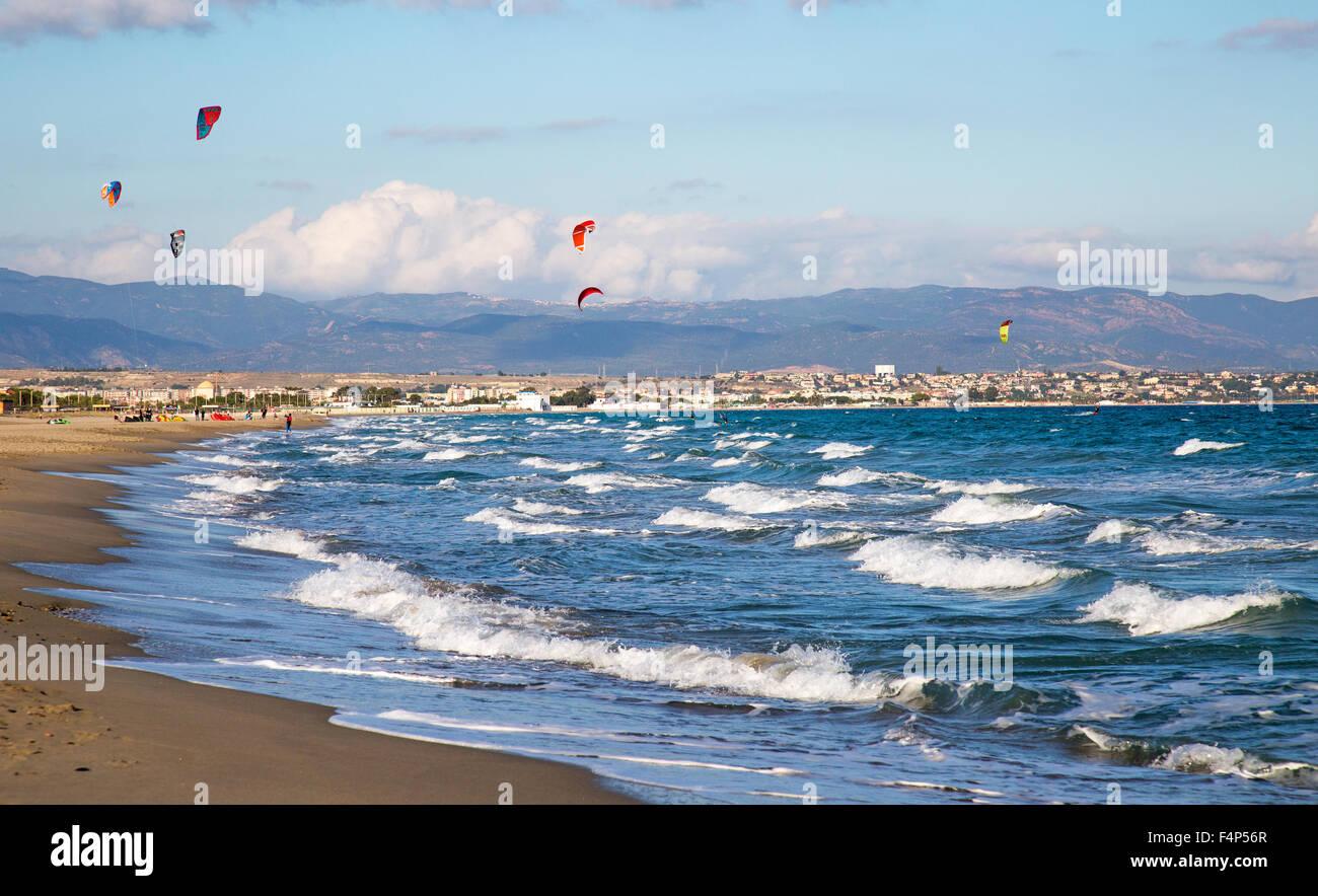 Poetto Beach Cagliari Sardinia Italy - Stock Image