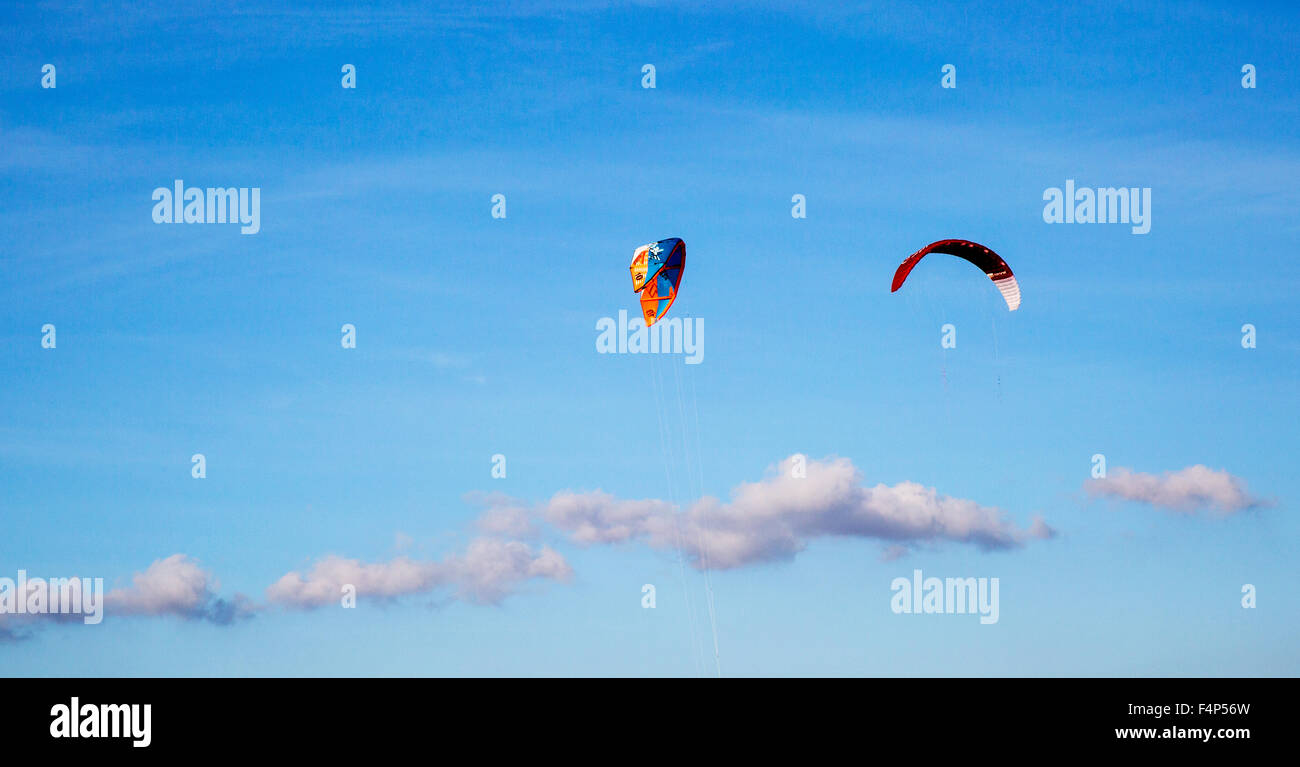 Kitesurfing On Poetto Beach Cagliari Sardinia Italy Stock Photo