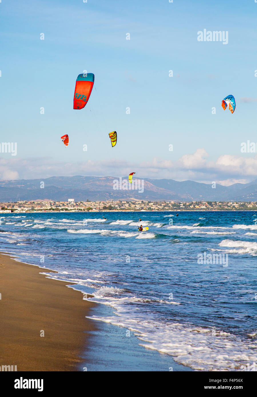 Kitesurfing On Poetto Beach Cagliari Sardinia Italy - Stock Image