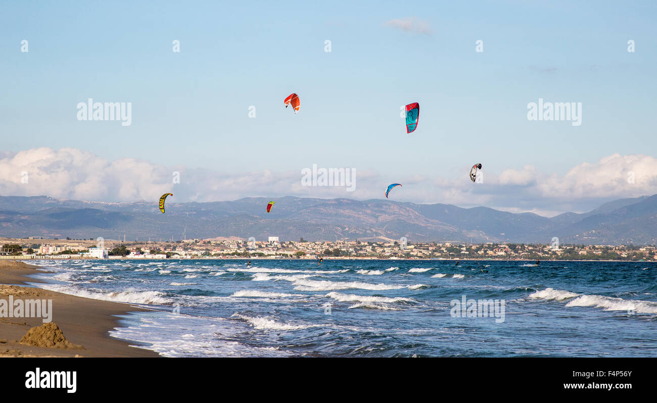 Kitesurfing On Poetto Beach Cagliari Sardinia Italy Stock Photo