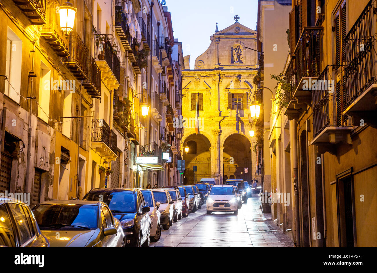 Traditional Street at Night In Cagliari Sardinia Italy - Stock Image