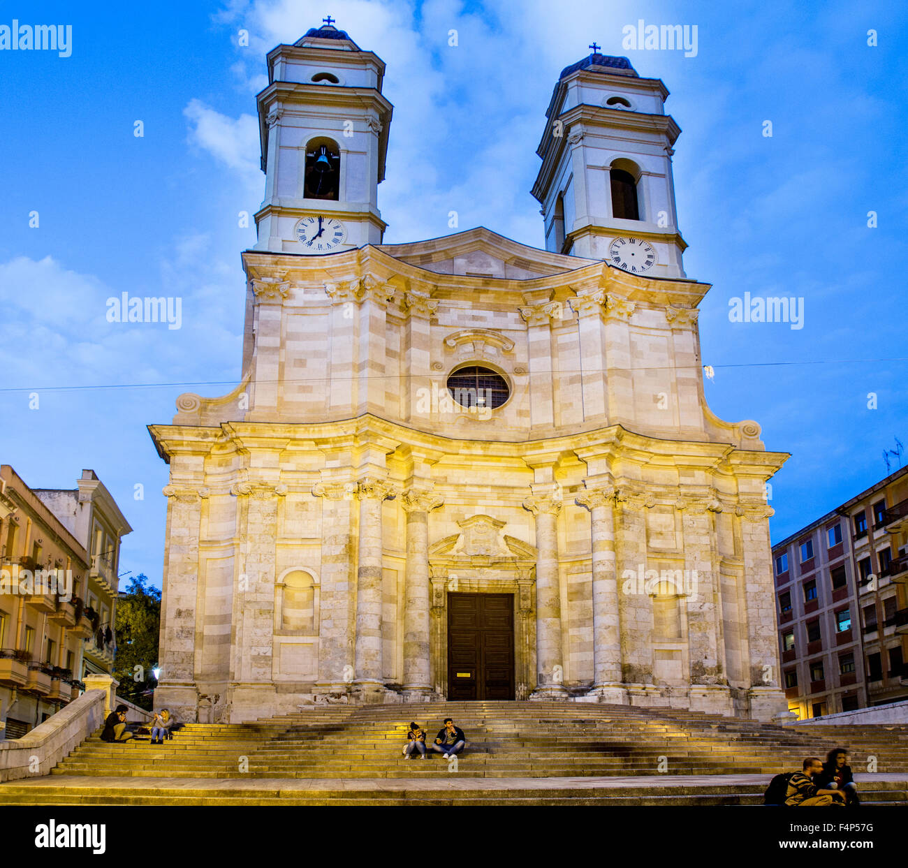 Chiesa Sant Anna Cagliari At Night Sardinia Italy - Stock Image