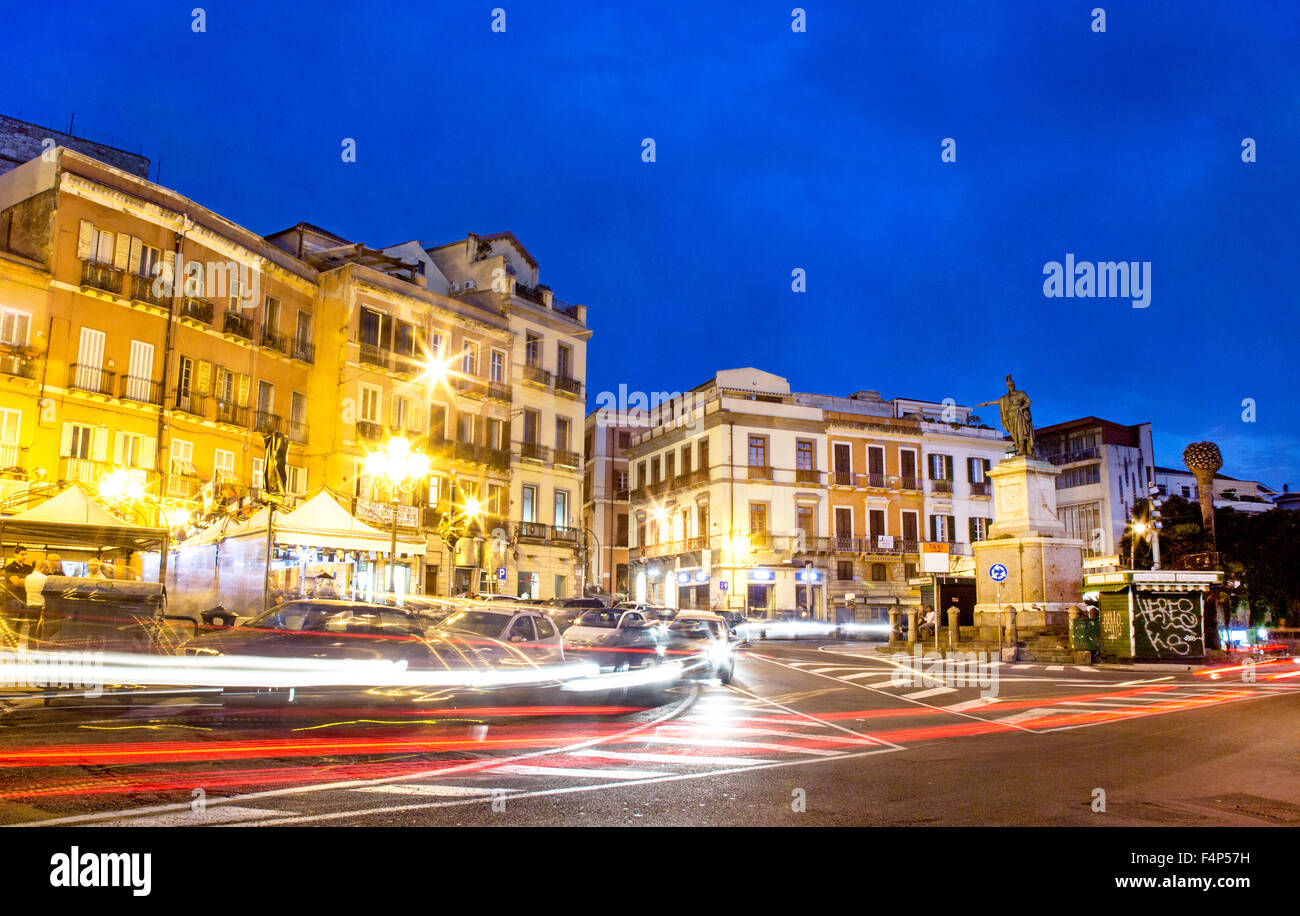 Piazza Jenne at Night with Traffic Cagliari Sardinia Italy - Stock Image