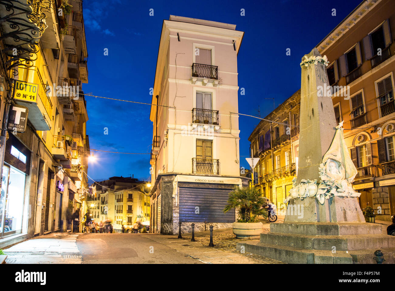Piazza Martiri D'Italia At Night Cagliari Sardinia Italy - Stock Image