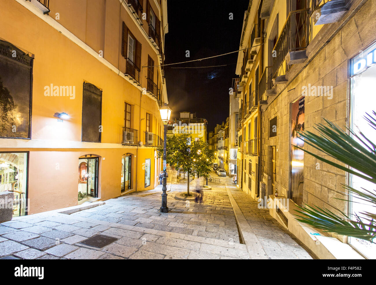 Street In  Cagliari At Night Sardinia Italy - Stock Image
