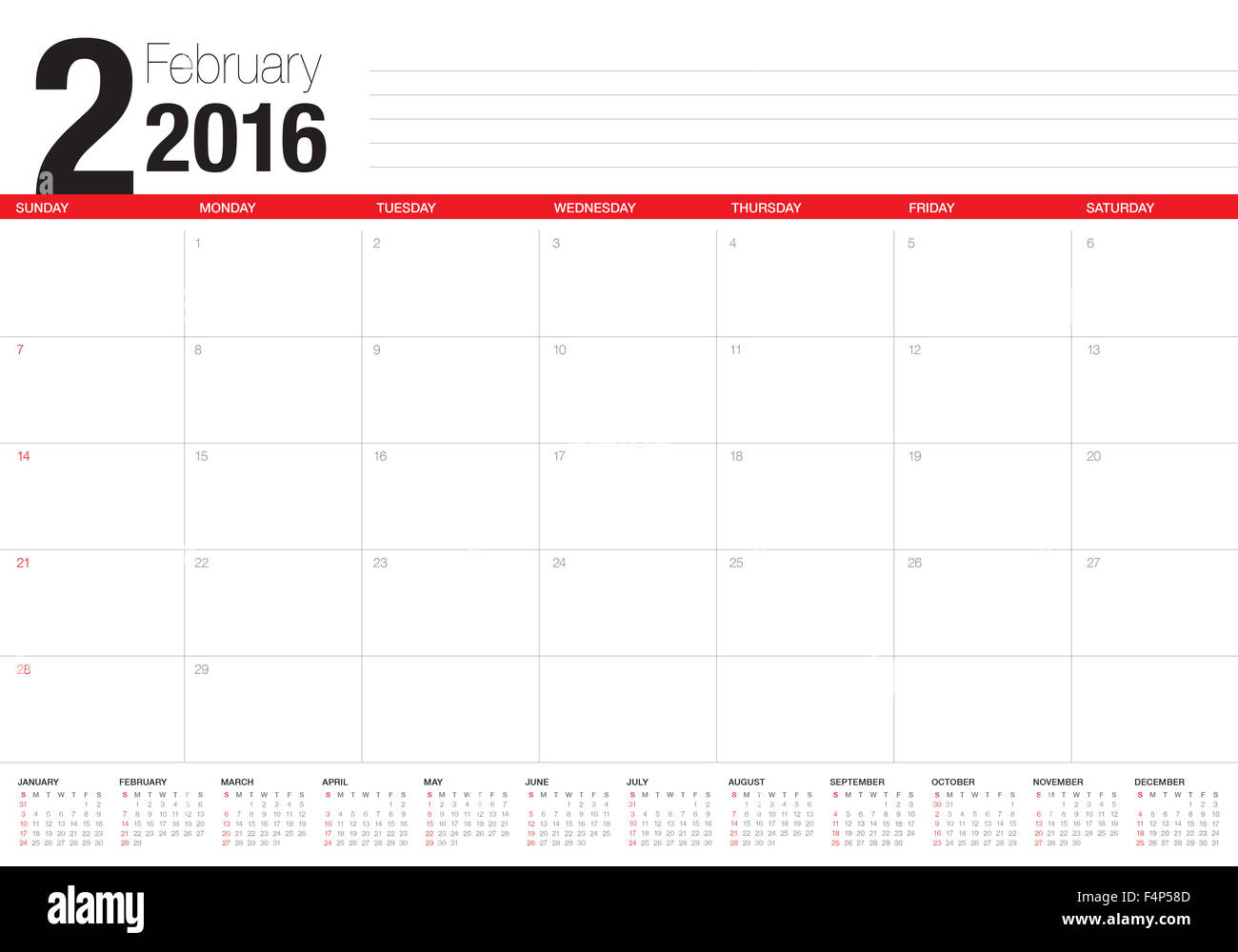 Simple table calendar for 2016 year - Stock Image