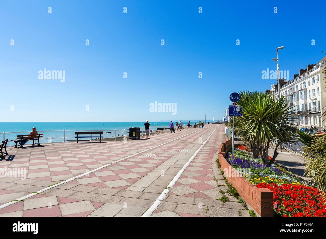 The seafront promenade, Hastings, East Sussex, England, UK - Stock Image