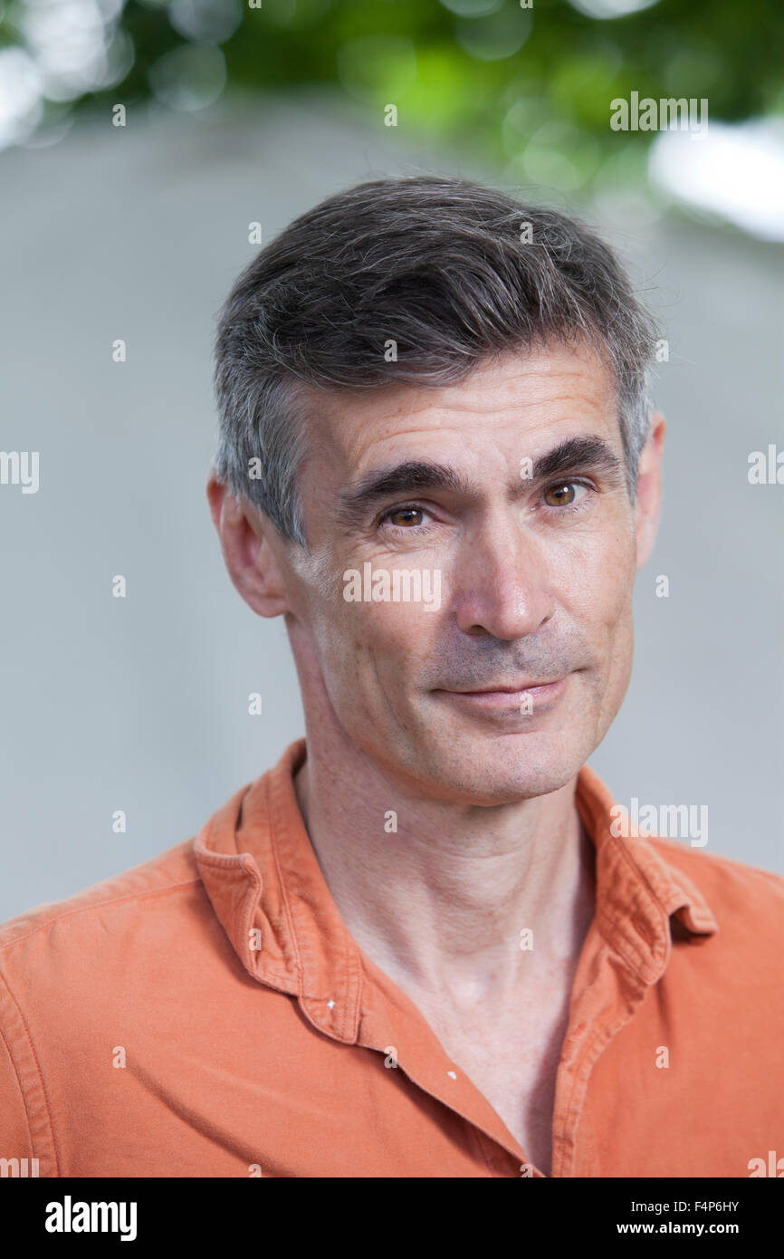 Andrew Miller, the English novelist and author, at the Edinburgh International Book Festival 2015. Edinburgh. 30th - Stock Image