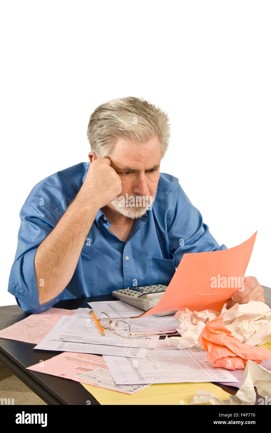 Concentrating On Taxes - Stock Image