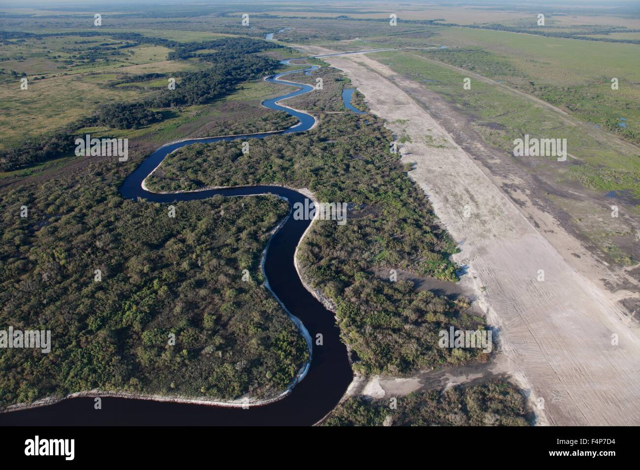 Aerial view of the Kissimmee River as it winds through central Florida eventually joining the Everglades July 7, Stock Photo
