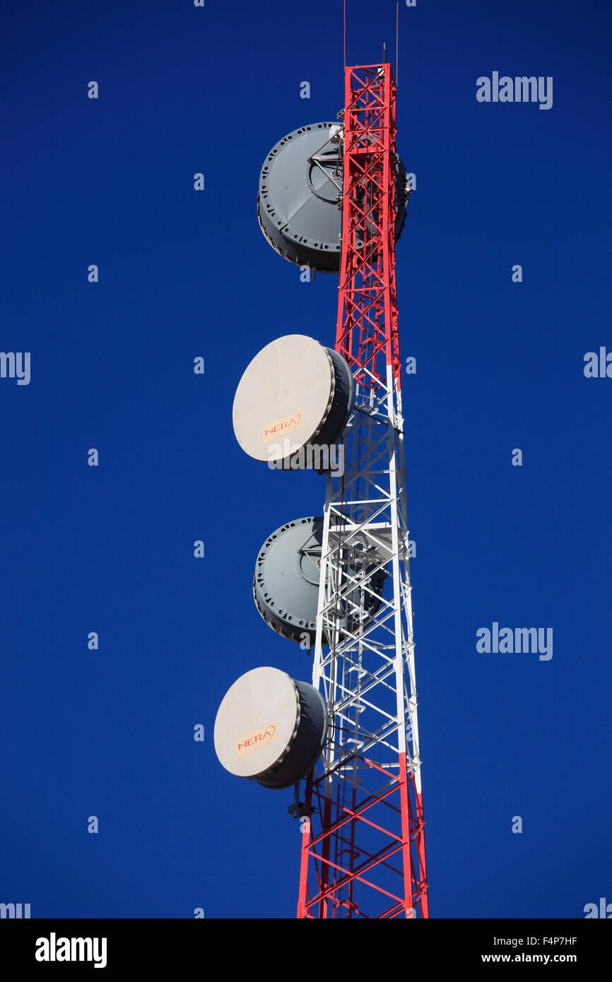 Sendstation in the Jebel Shams, Oman - Stock Image