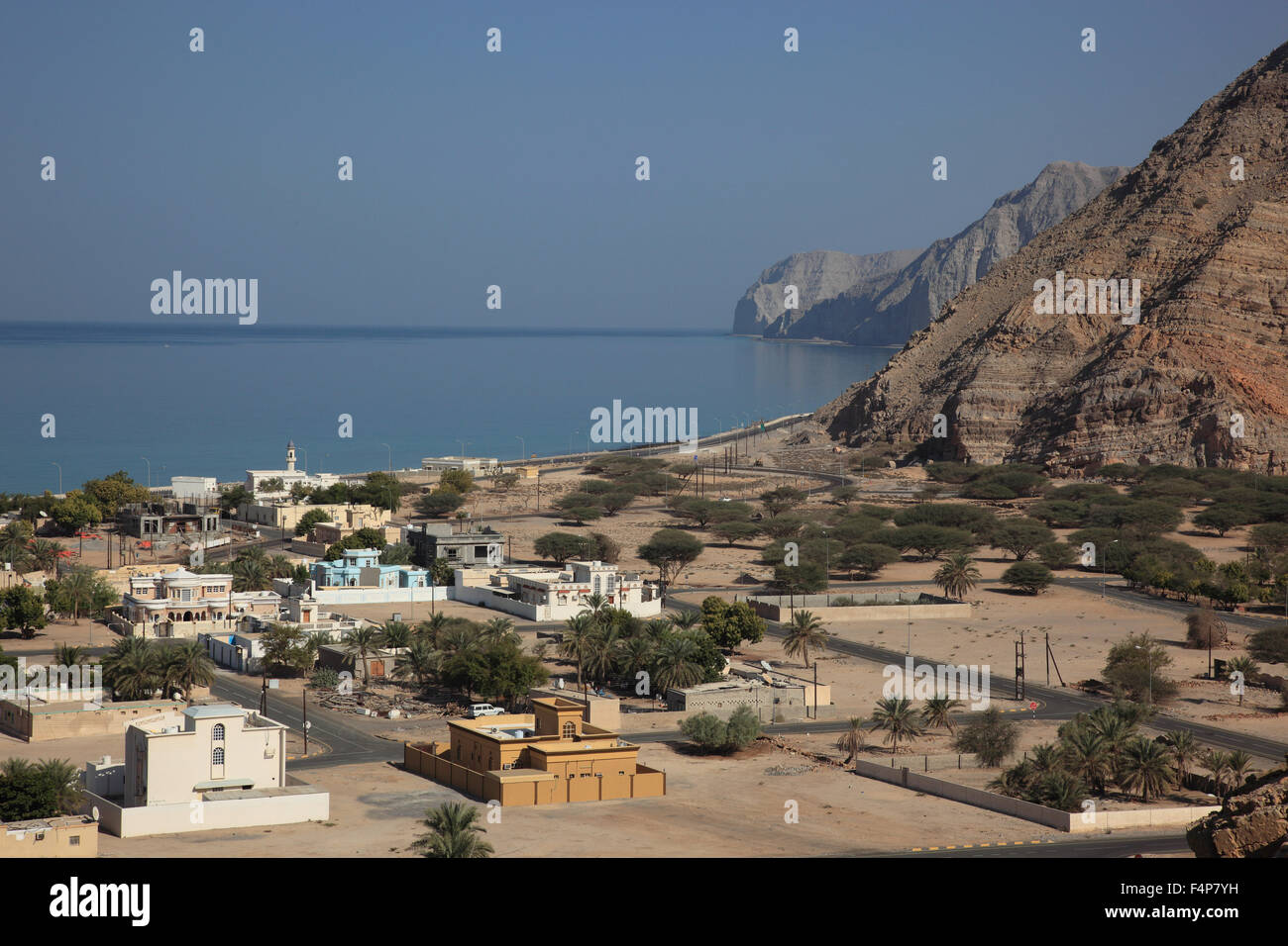 Bay of Bukha, in the granny's niches enclave of Musandam, Oman Stock Photo