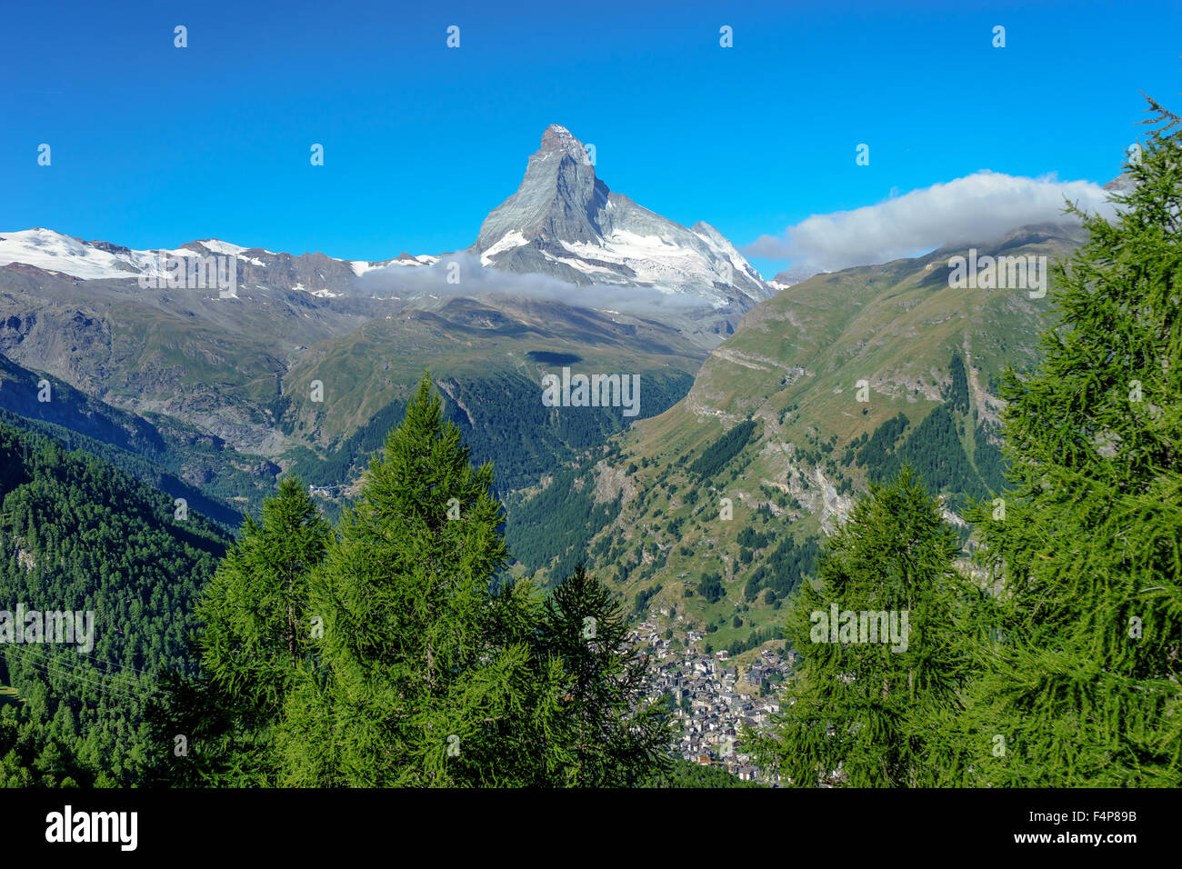 Matterhorn peak, Zermatt, and pine trees. July, 2015. Matterhorn, Switzerland. - Stock Image