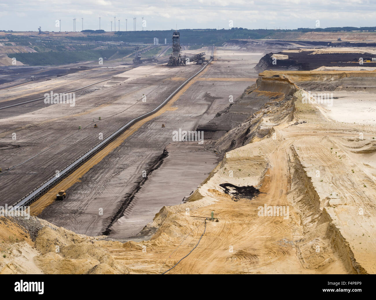 Bucket-wheel excavator in the cratered landscape of the surface mining field at Garzweiler, Germany's largest opencast Stock Photo