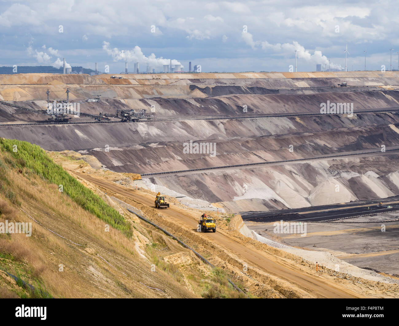 Cratered landscape of the surface mining field at Garzweiler, Germany's largest opencast pit for lignite extraction. Stock Photo