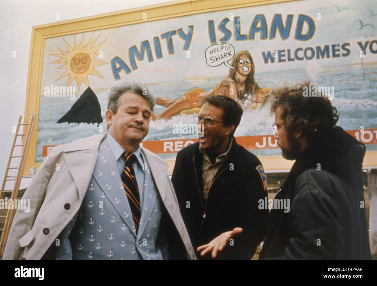 Murray Hamilton, Roy Scheider, Richard Dreyfuss / Jaws 1975 directed by Steven Spielberg - Stock Image