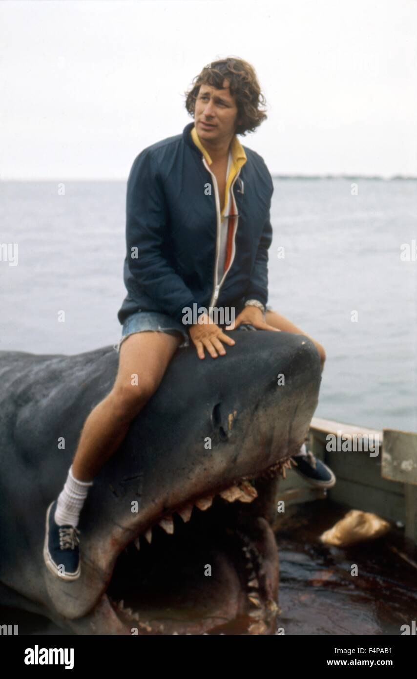 Steven Spielberg / Jaws 1975 directed by Steven Spielberg - Stock Image