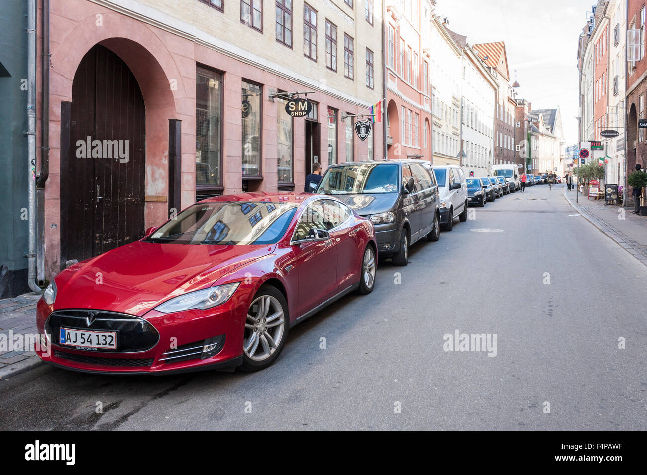 Tesla electric car, Copenhagen, Denmark, Europe. - Stock Image