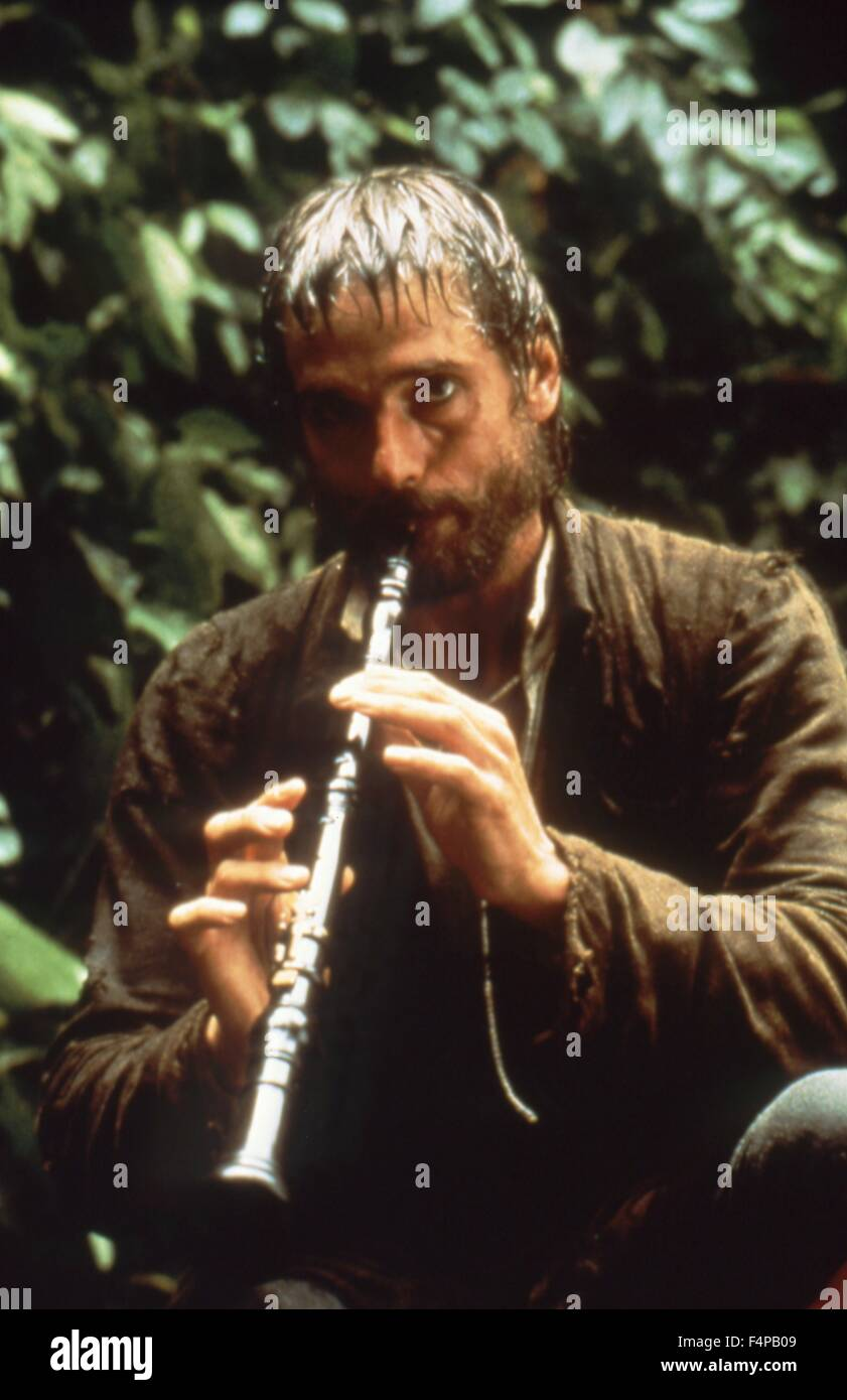 Jeremy Irons / The Mission 1986 directed by Roland Joffe - Stock Image