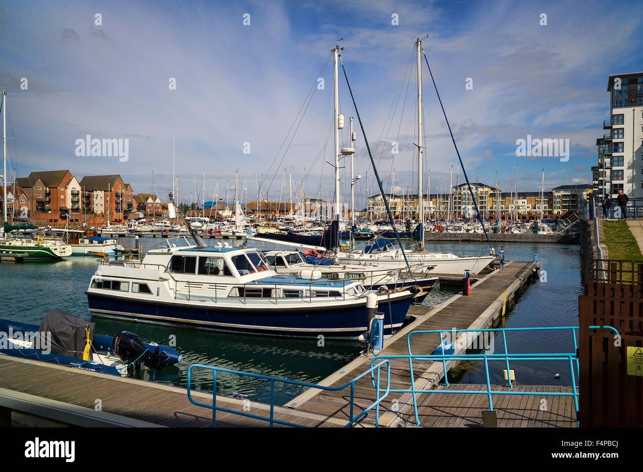 Eastbourne Marina with leisure craft in water - Stock Image