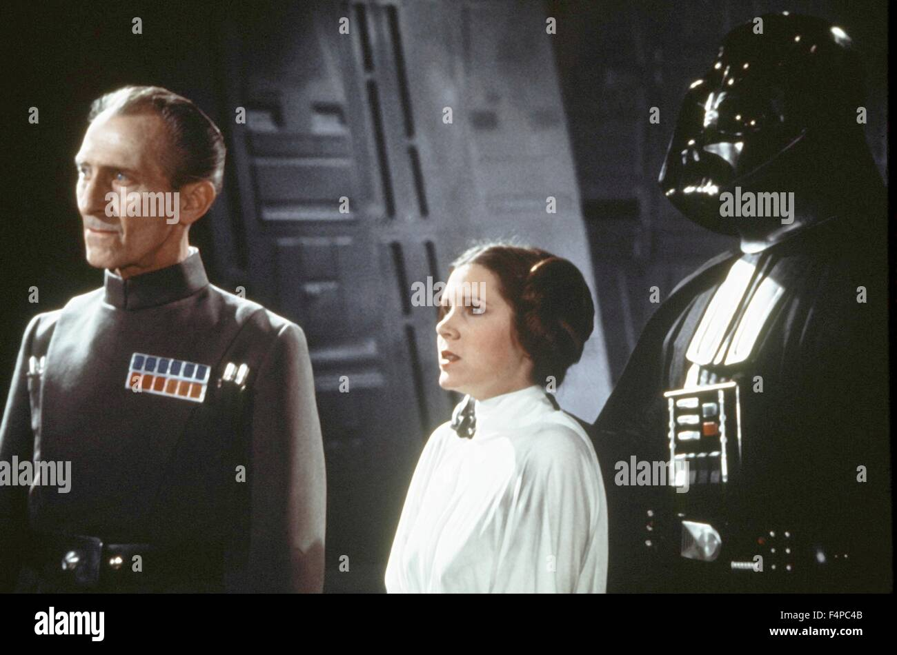 Peter Cushing, Carrie Fisher, David Prowse / Star Wars - A New Hope 1977 directed by George Lucas - Stock Image